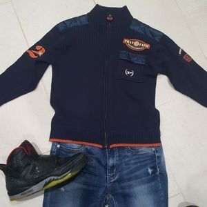 Phat Farm Boys Military Sweater Blue size 6